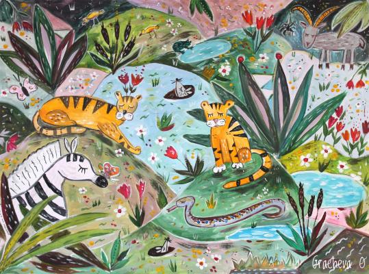 Oksana Gracheva. Glade with blissful animals