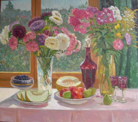 Eugene Kazantsev. Still life flowers fruit.