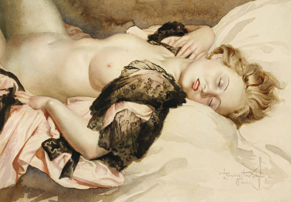 Лев Смарагдович Чистовский. Молодая женщина на розовой постели.