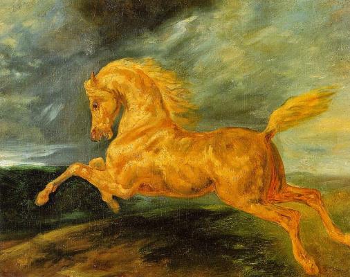 Теодор Жерико. Лошадь, испугавшаяся молнии, в галопе