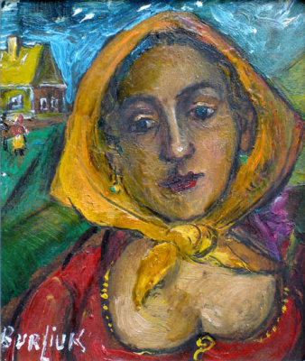 David Davidovich Burliuk. Woman in yellow scarf