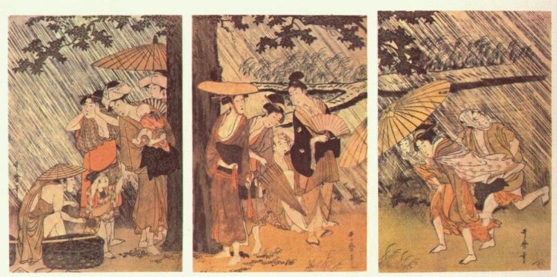 Kitagawa Utamaro. Shower 1-Triptych