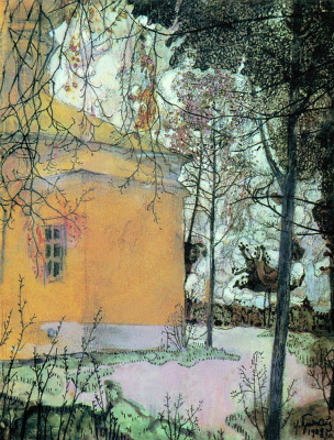 Isaac Brodsky. Церковь. 1905  акв. кар.