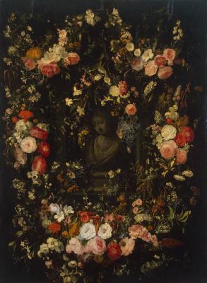 Николас ван Верендаль. Бюст Мадонны в гирлянде цветов