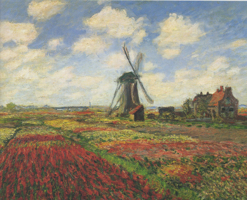 Claude Monet. Field of tulips and windmill in Holland