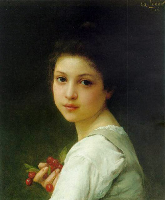 Charles-Amable Lenoir. Portrait of a young girl with cherries