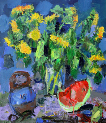 Ilya Pavlovich Spichenkov. Sunflowers. Night