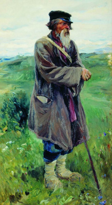 "Sergey Arsenievich Vinogradov. Shepherd. Study for the painting ""stubble"""