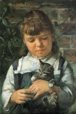 Теодор Робинсон. Девочка с котом