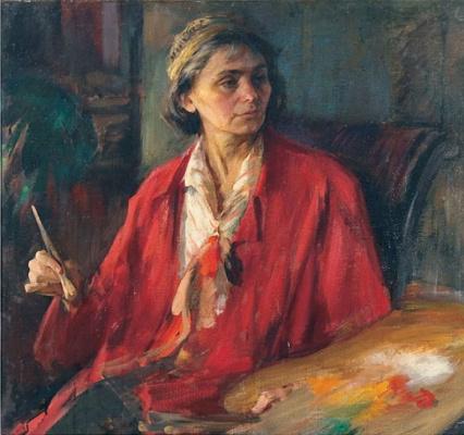 Pavel Petrovich Benkov. Portrait of artist Zinaida Kovalevskaya