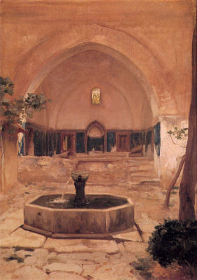 Frederic Leighton. The courtyard of the mosque in Brusse