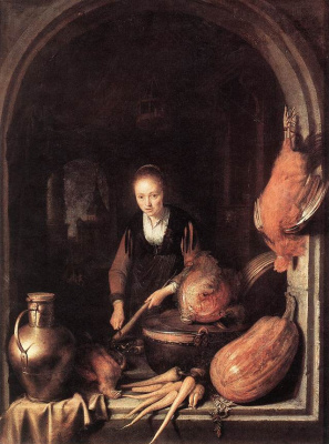 Gerrit (Gerard) Dow. Woman cleaning carrots