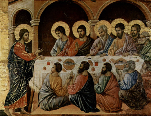 Duccio di Buoninsegna. Maesta, altar of Siena Cathedral. The appearance of Christ to the apostles eating dinner