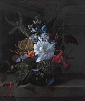 Рашель Рюйш. Натюрморт с цветами в голубой стеклянной вазе