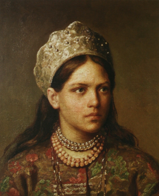 Sergeevich Firs Zhuravlev. Portrait of a girl in Russian costume. National Gallery of the Republic of Komi, Syktyvkar