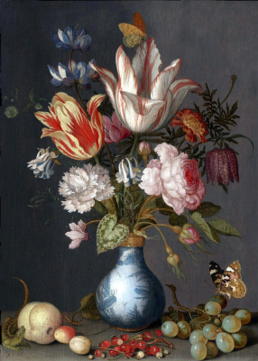 Flowers in a Chinese vase and butterfly on bunch of grapes