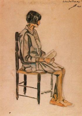Луис Кастельянос. Девушка, сидящая на стуле