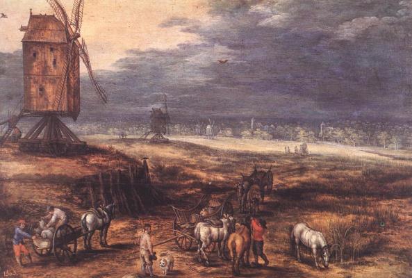 Ян Брейгель Старший. Пейзаж с ветряными мельницами
