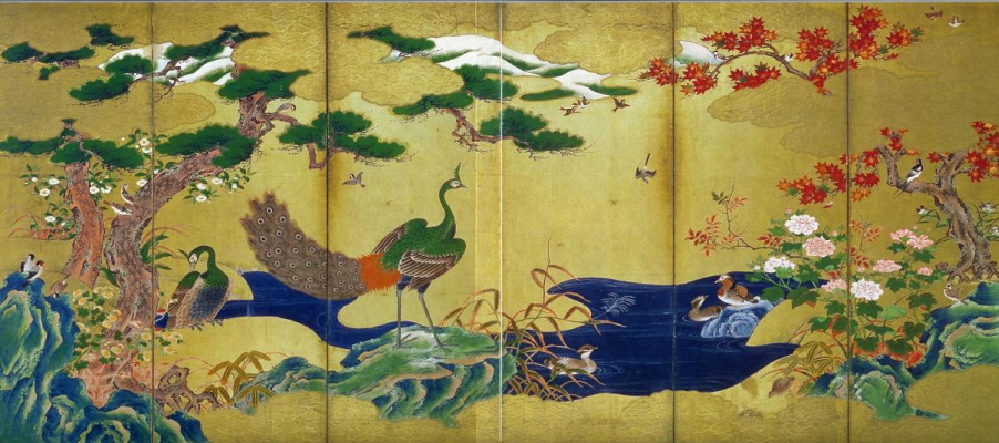 """Kano Eytoku. Screen """"Flowers and birds of vermen of the year"""", left side"""