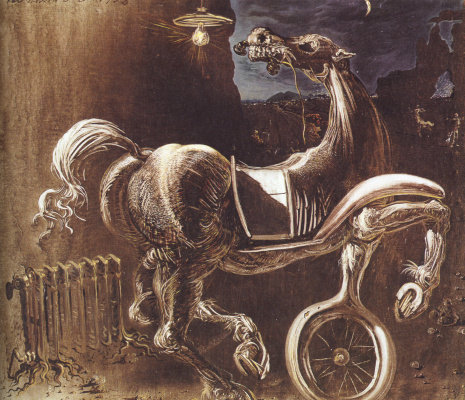Salvador Dali. The wreckage of the car, generating a blind horse biting a telephone