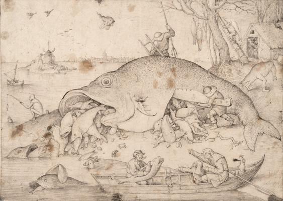 Питер Брейгель Старший. Большая рыба поедает маленькую рыбёшку