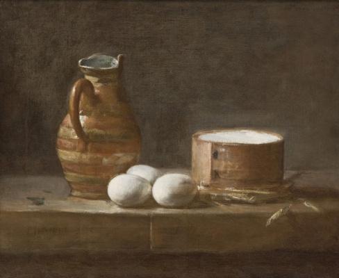 Жан Батист Симеон Шарден. Натюрморт с кувшином, яйцами и сыром