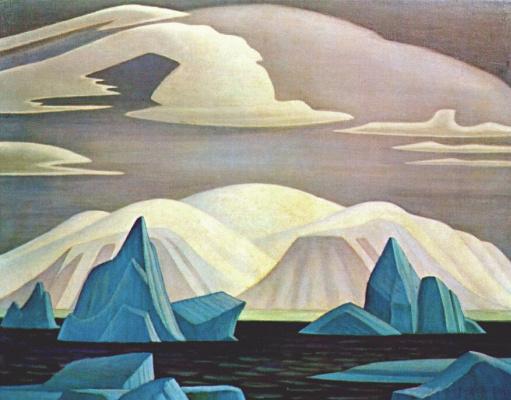 Lauren Harris. Icebergs and mountains