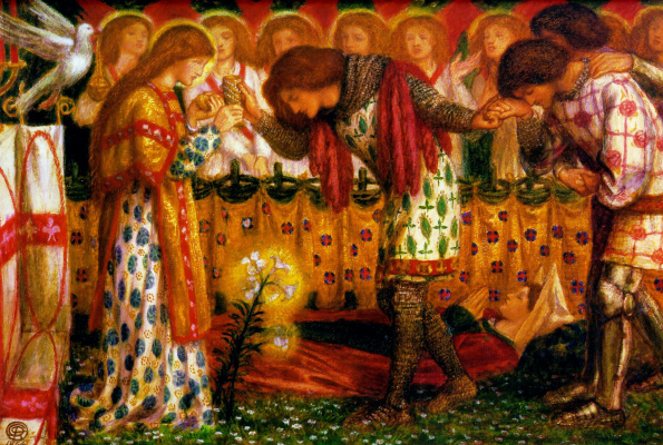Dante Gabriel Rossetti. How sir Galahad, sir Bors and sir Percival got the Holy Grail