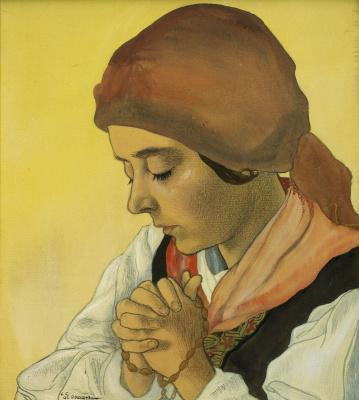 Charles Clos Olsome. Evening prayer.  tempera 31.5 x 28