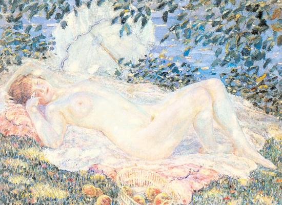 Фридрих Карл Фриске. Спящая девушка в саду