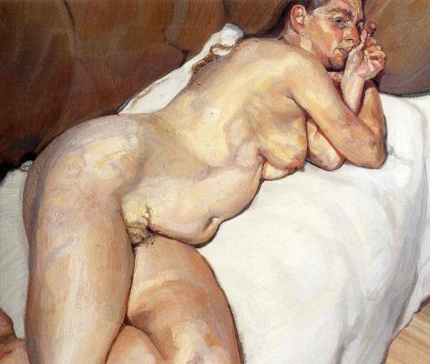 Lucien Freud. Nude woman on sofa