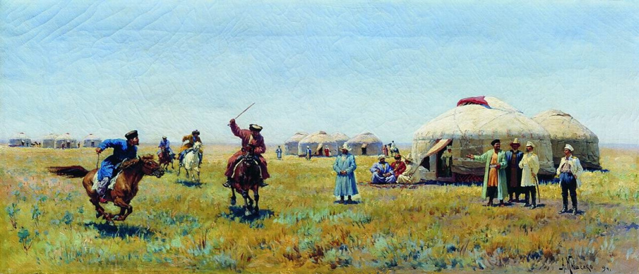 Alexey Danilovich Kivshenko Russia 1851-1895. In the steppe. 1894