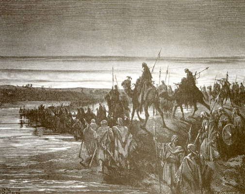 Paul Gustave Dore. Illustration to the Bible: Israelis are crossing Jordan