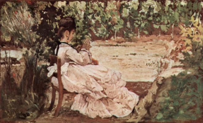 Джованни Фаттори. Жена Джованни в саду