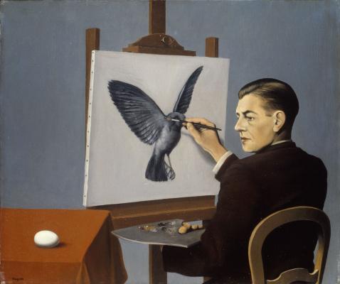 Рене Магритт. Ясновидение (Автопортрет)