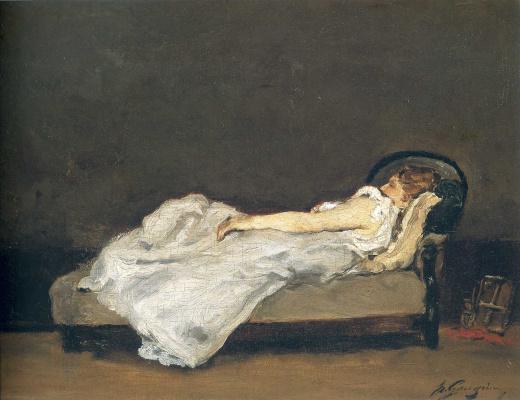 Paul Gauguin. Mette Gauguin asleep on a sofa