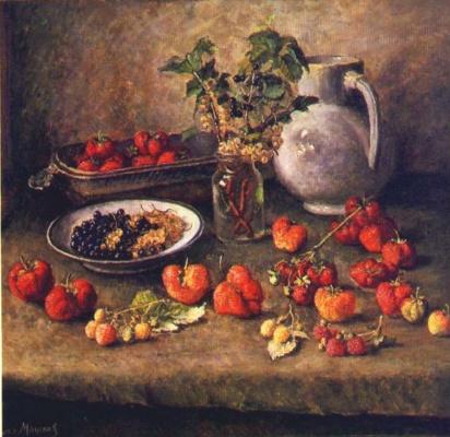 Ilya Ivanovich Mashkov. Strawberry and white jug