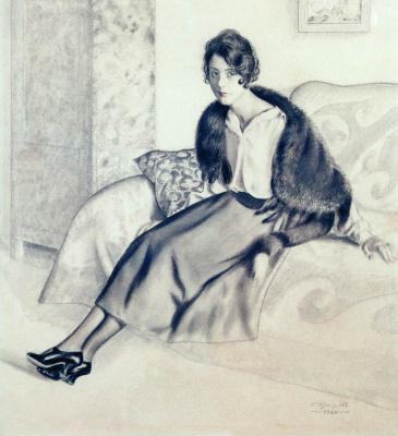 Борис Михайлович Кустодиев. Портрет О.П. Мясоедовой