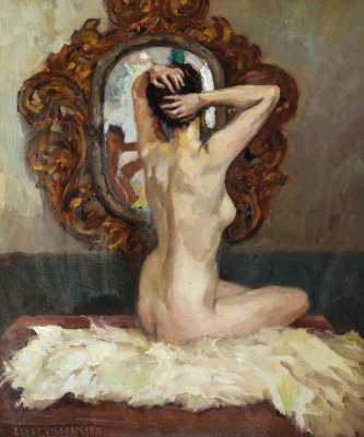 Ernst Lieberman. Female Nude Viewed from the Rear, Sitting Before a Mirror