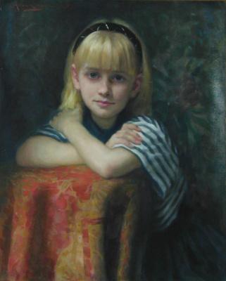 Аллан Бэнкс. Маленькая девочка сложила руки на стуле