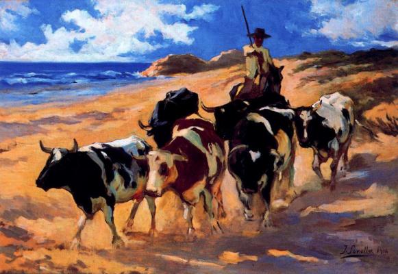 Joaquin Sorolla (Soroya). Oxen on the beach
