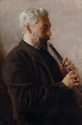 Thomas Eakins. The man with the oboe. Portrait of Dr. Benjamin sharp