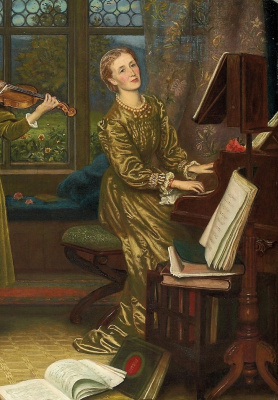 Arthur Hughes. Home quartet. Fragment. Mrs. Vernon Lushington