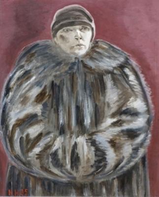 Ksenia Vasilyevna Nechitailo. Self-portrait in a fur coat