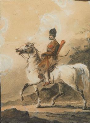 Alexander Osipovich Orel. Highlander on horseback
