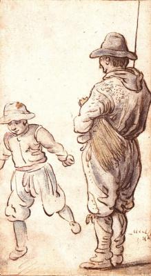 Хендрик Аверкамп. Пожилой мужчина наблюдает за катающимся мальчиком