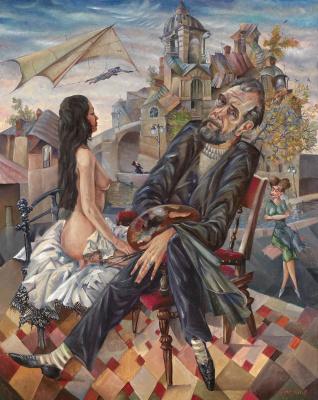 Вячеслав Васильевич Калинин. Автопортрет с дельтопланом. 1994