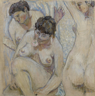 Three bathers with a rose