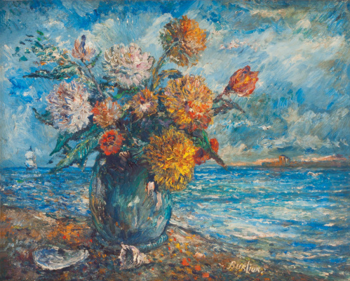 David Davidovich Burliuk. Still life on background of ocean