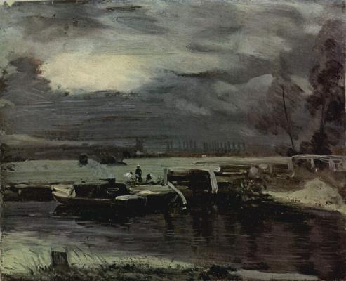 Джон Констебл. Лодки на реке Стоур